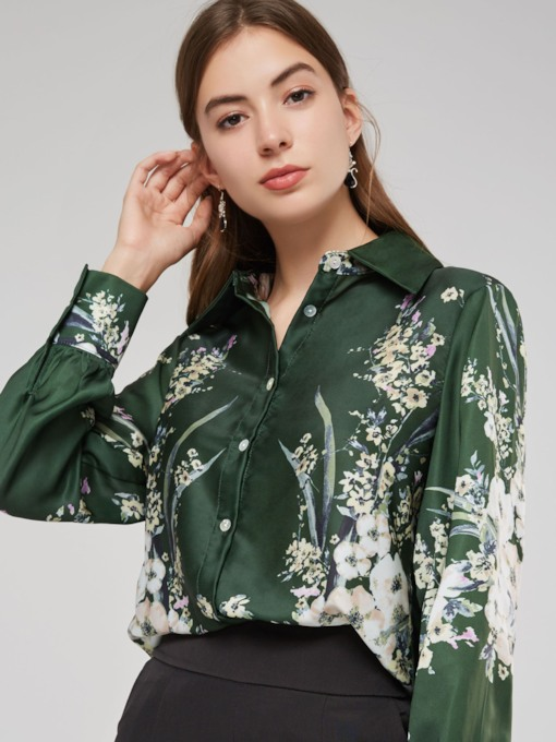Plants Print Single-Breasted Polo Neck Women's Shirt