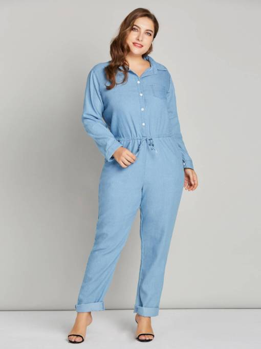 Denim-Langarm-Revers Tasche Damen Jumpsuit