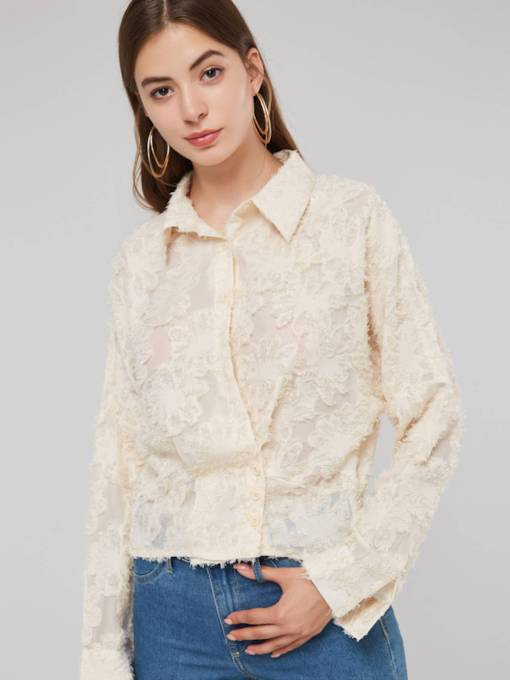 Vintage Tight Sleeve Button Down Tassel Women's Shirt