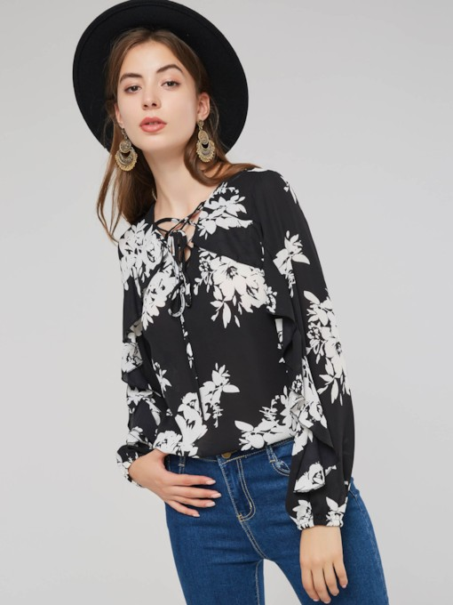 Floral Print Lace Up Pullover Hollow Out Women's Blouse