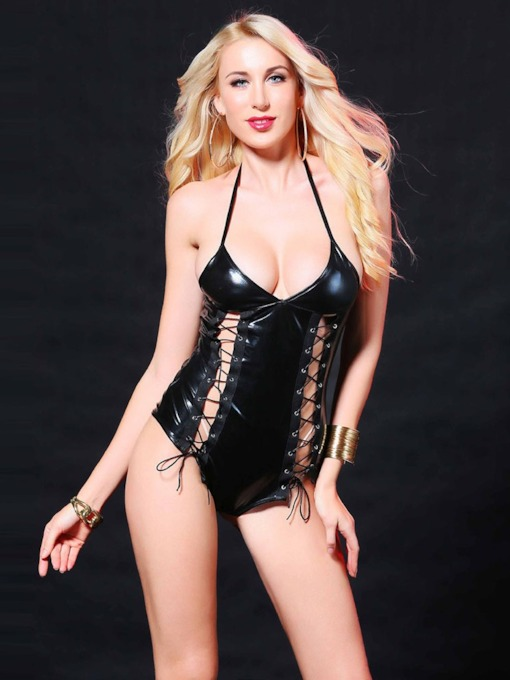 Halter Hollow Lace-Up Patent Leather Bodysuit
