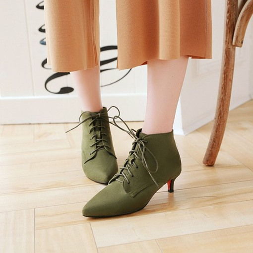 Lace-Up Front Kitten Heel Pointed Toe Fashion Women's Ankle Boots