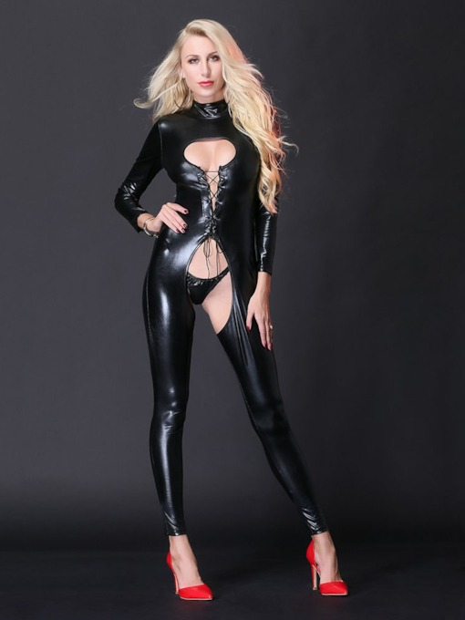 Lace-Up Crotchless Patent Leather Clubwear Bodysuit