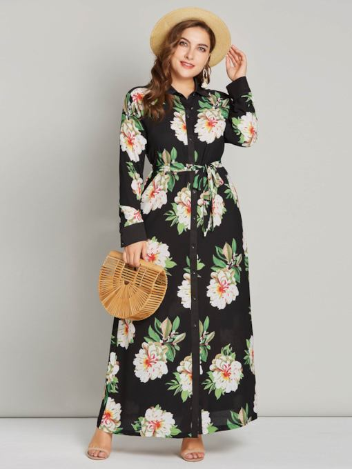 Plus Size Single-Breasted Prints Lapel Women's Long Sleeve Dress