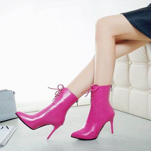 Pointed Toe Stiletto Heel Back Zip Cross Strap Sexy Ankle Boots