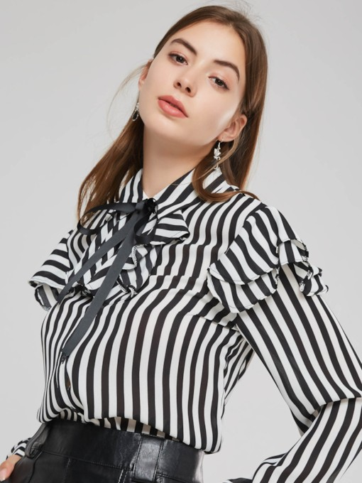 Tie Neck Ruffles Stripe Print Women's Shirt