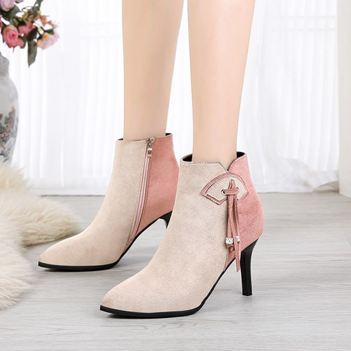 Suede Pointed Toe Stiletto Heel Side Zipper Color Block Ankle Boots