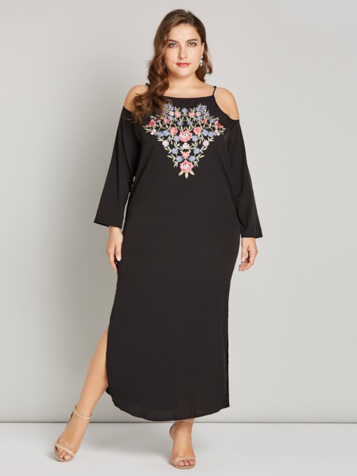 Plus Size Embroidery Split Long Sleeves Women's Maxi Dress