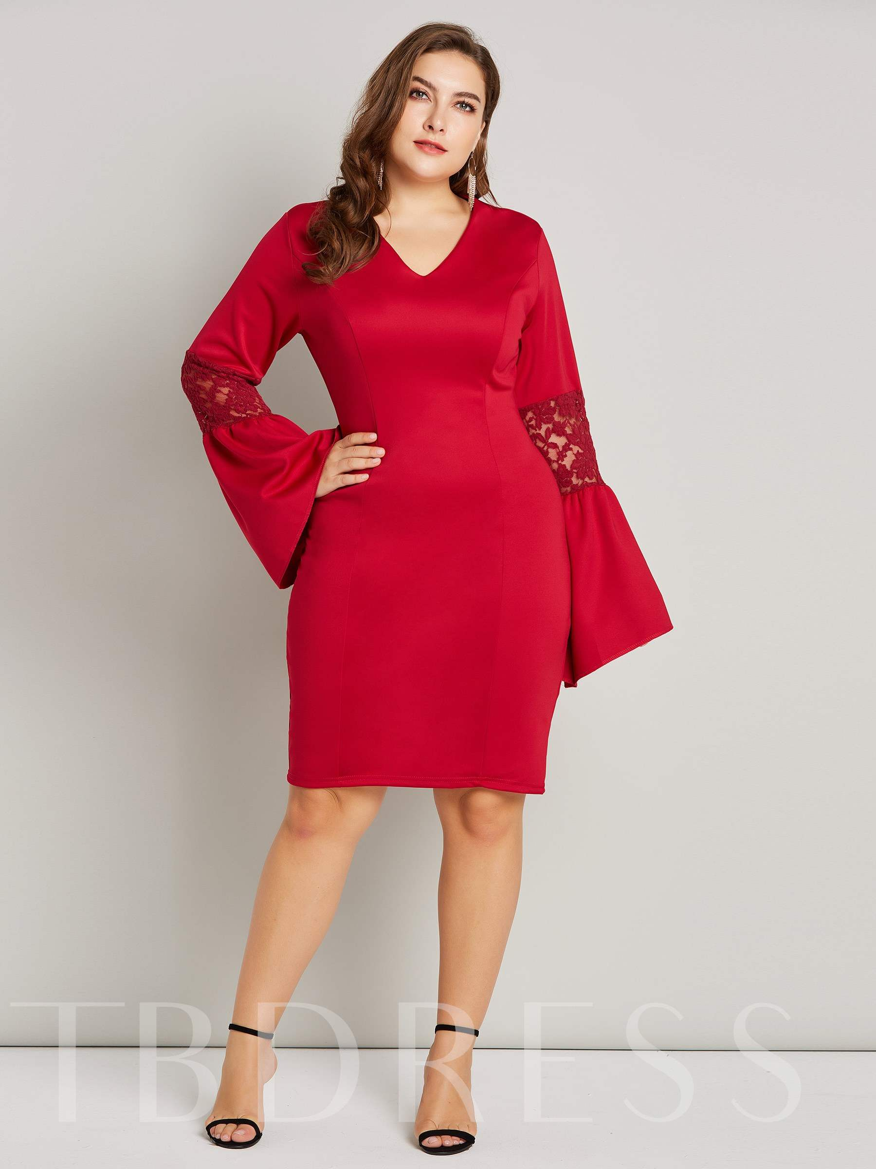 Buy Flare Sleeve V-Neck Women's Lace Dress, Plusee, 13456830 for $19.23 in TBDress store