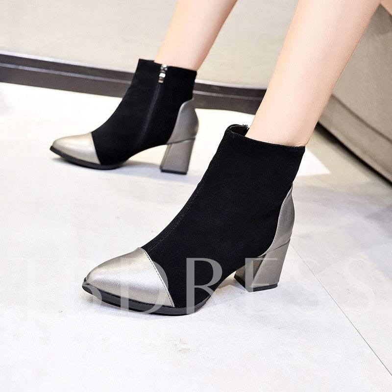 4f303de57f9 Pointed Toe Chunky Heel Side Zipper Patchwork Women s Ankle Boots. Sold Out
