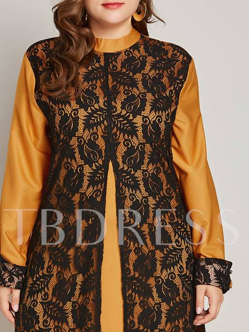 Long Sleeves Stand Collar Lace Women's Maxi Dress