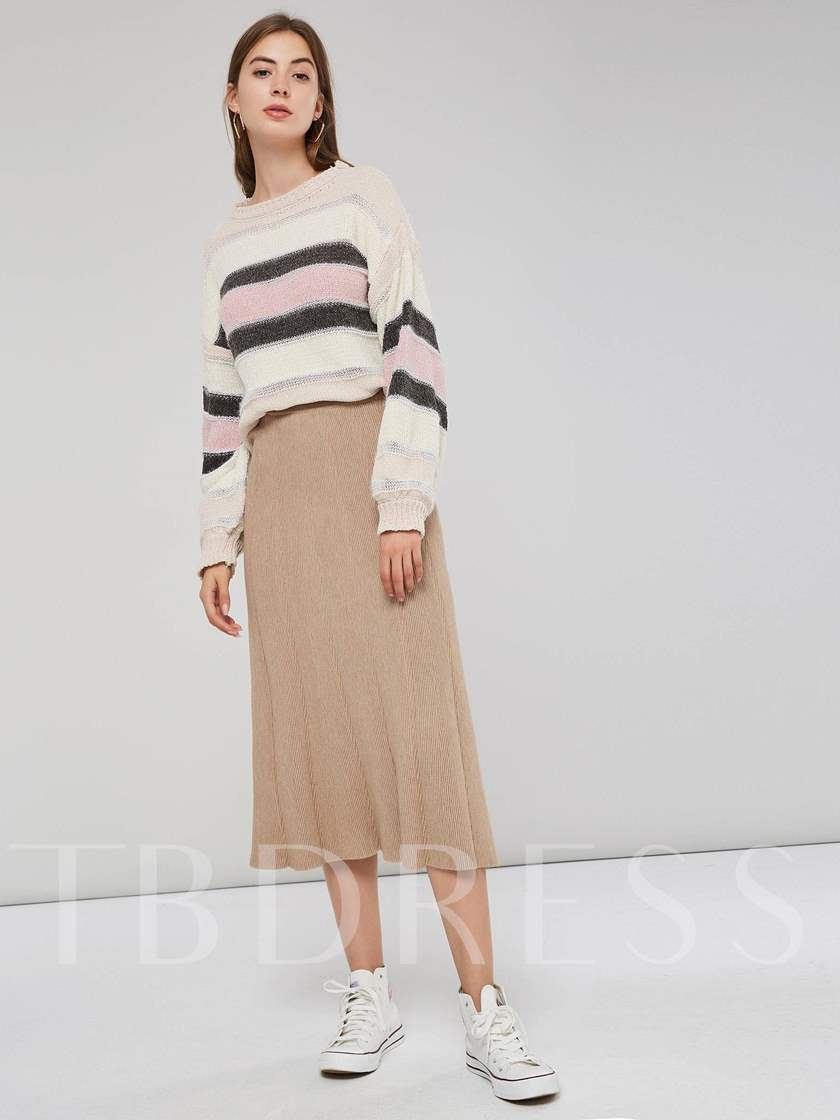 Knit Pleated A Line Women's Skirt