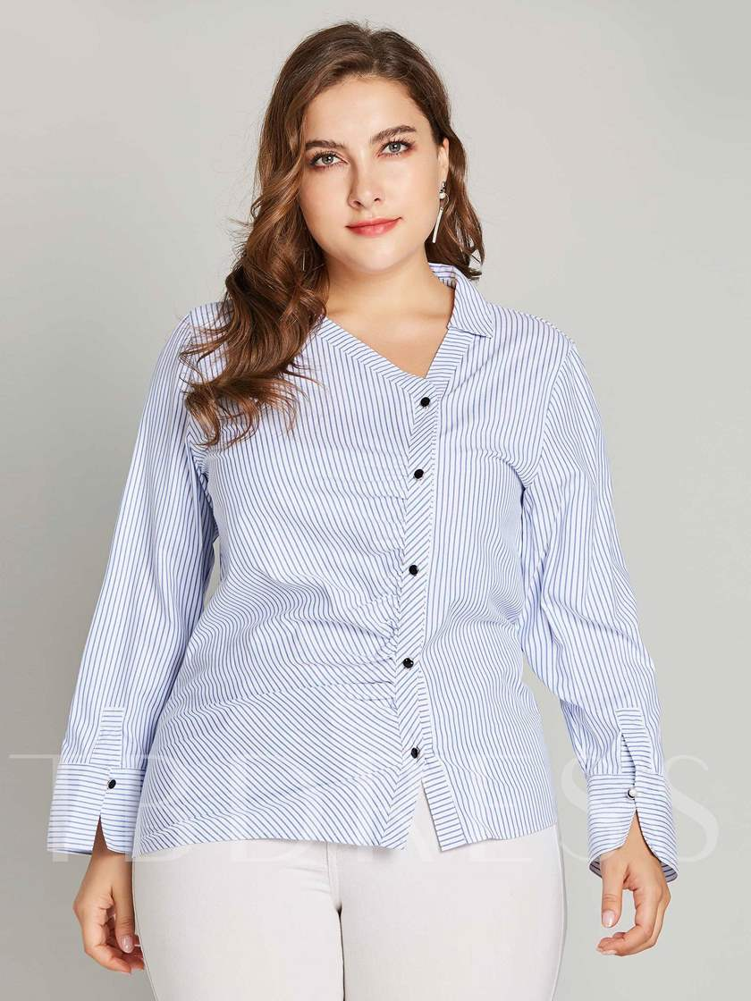 Asymmetric Single-Breasted Plus Size Stripe Women's Shirt