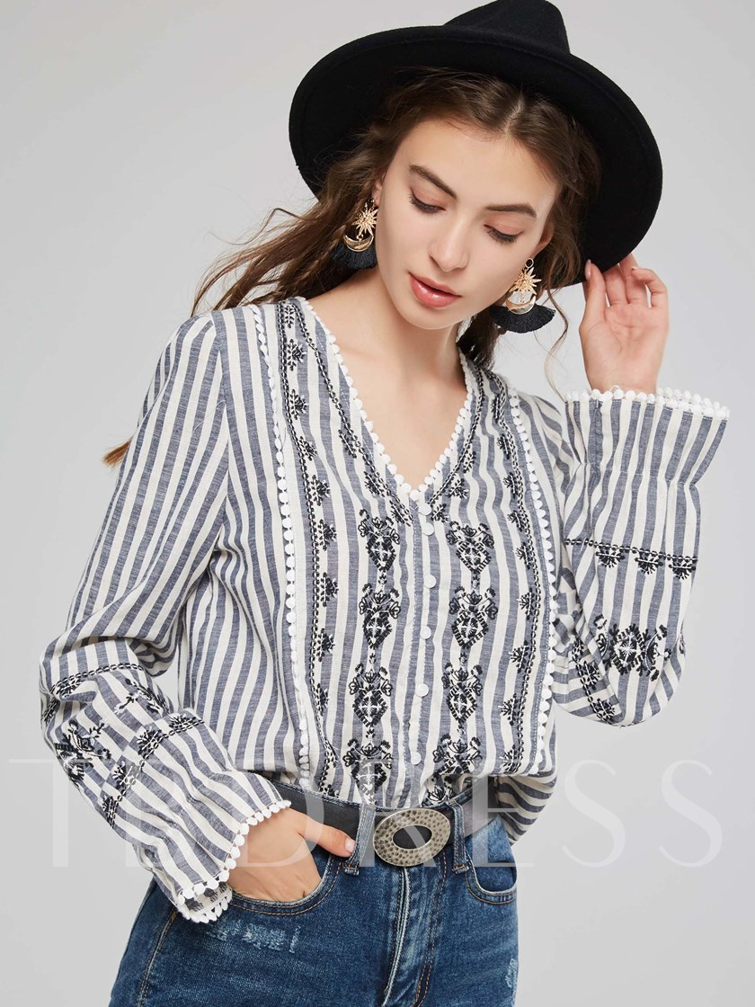 Plunge Neck Embroidery Stripe Flare Sleeve Women's Blouse