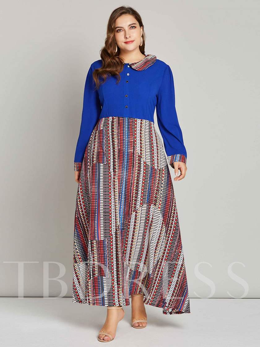 Plus Size Peter Pan Collar Geometric Prints Women's Maxi Dress