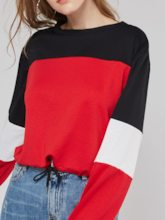 Color Block Round Neck Women's Sweatshirt