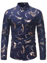 Slim Lapel Geometric Printed Men' Shirt