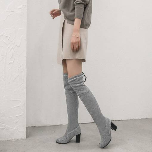 Lace-Up Back Chunky Heel Round Toe Casual Women's Knee High Boots