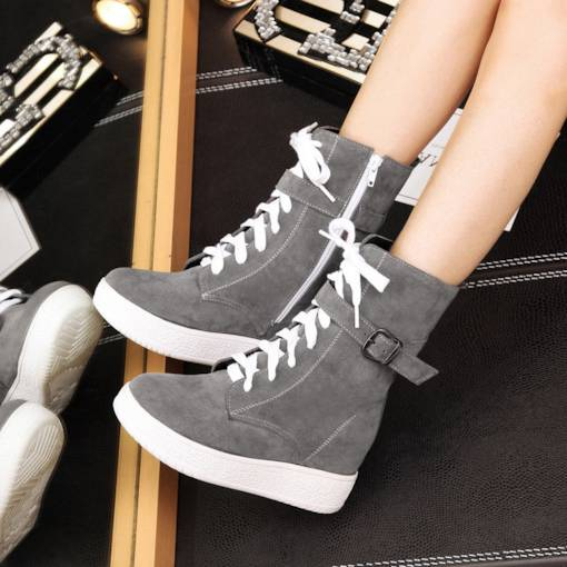 Round Toe Side Zipper Cross Strap Platform Buckle Mid Calf Boots