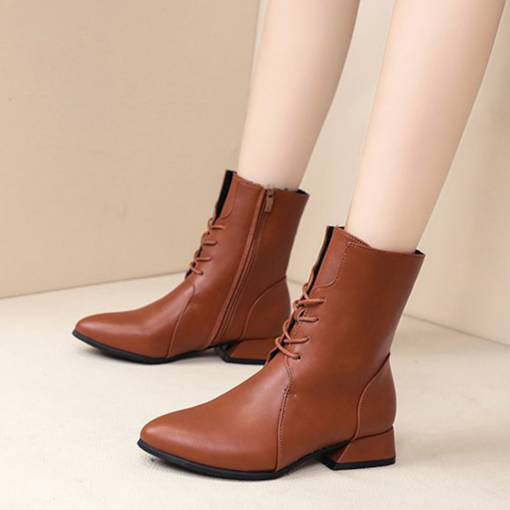 Pointed Toe Side Zipper Cross Strap Classical Women's Ankle Boots