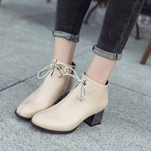 Round Toe Chunky Heel Side Zipper Lace-Up Elegant Women's Ankle Boots