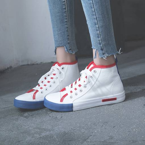 Round Toe Color Block Lace-Up High Top Women's Canvas White Sneakers