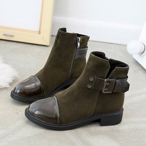 Suede Round Toe Block Heel Hasp Stylish Women's Ankle Boots