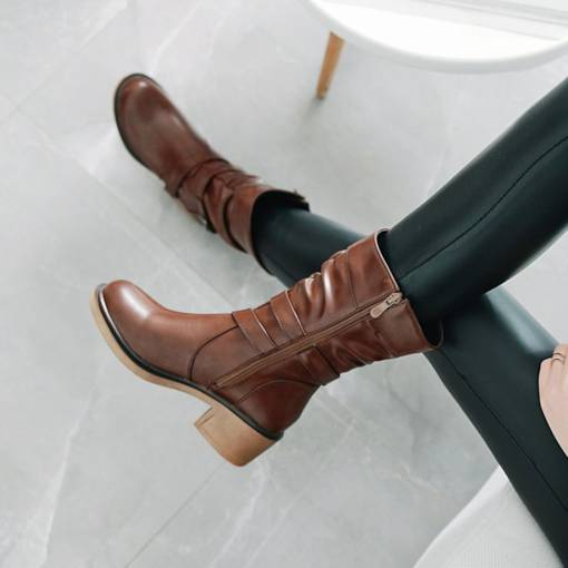 Chunky Heel Round Toe Side Zipper Women's Motorcycle Boots