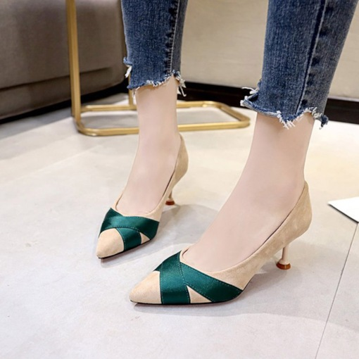 Suede Pointed Toe Stiletto Heel Ribbon Patchwork Women's Pumps