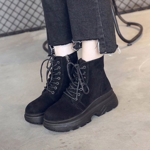 Suede Side Zipper Cross Strap Platform Round Toe Casual Martin Boots
