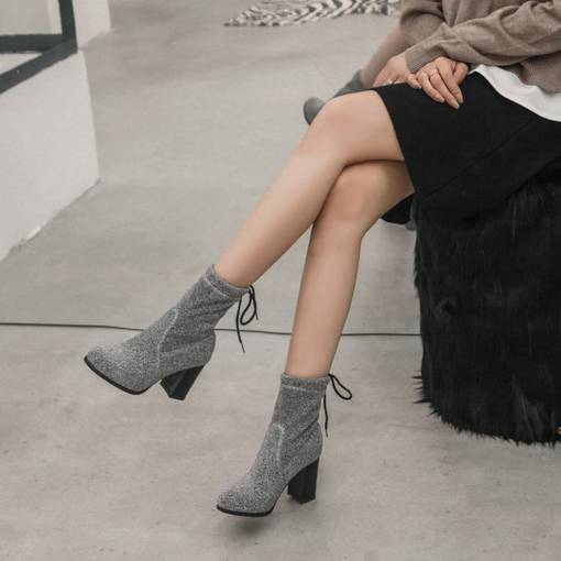 Lace-Up Back Chunky Heel Round Toe Glitter Ankle Boots for Women