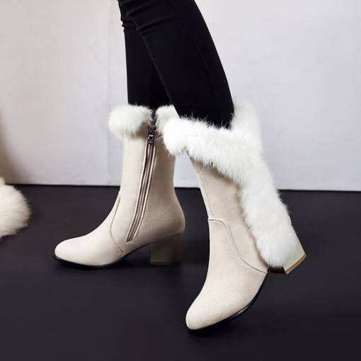Suede Side Zipper Chunky Heel Round Toe Special Women's Snow Boots