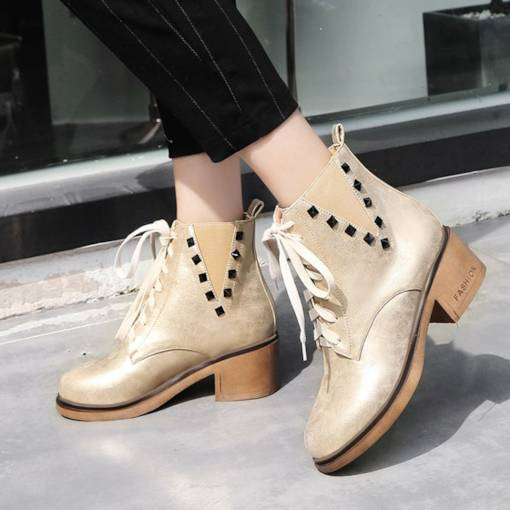 Round Toe Rivet Chunky Heel Lace-Up Front Versatile Ankle Martin Boots