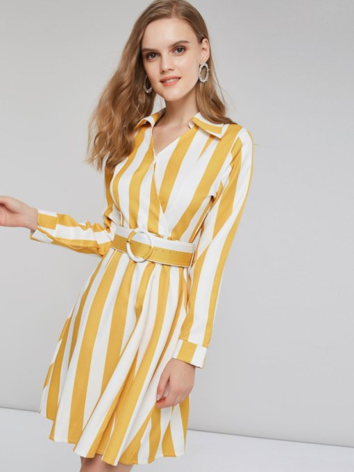 Stripe V-Neck Color Block Women's Long Sleeve Dress