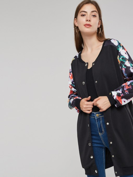 Floral Print Mid Length Stand Collar Color Block Women's Jacket