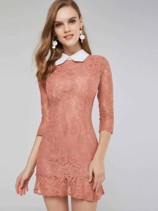 d34ac209c86 Peter Pan Collar 3 4 Length Sleeves Women s Lace Dress