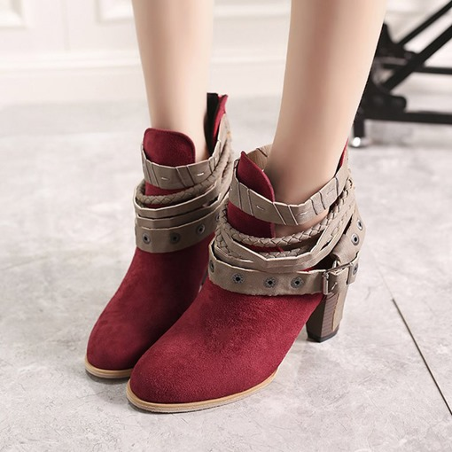 Suede Round Toe Chunky Heel Back Zip Rivet Buckle Vintage Ankle Boots