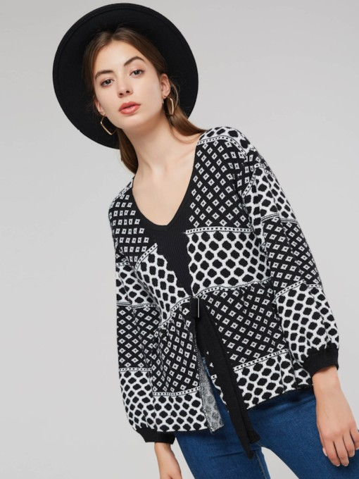 Plain Geometric Print Lace Up Women's Sweater Coat