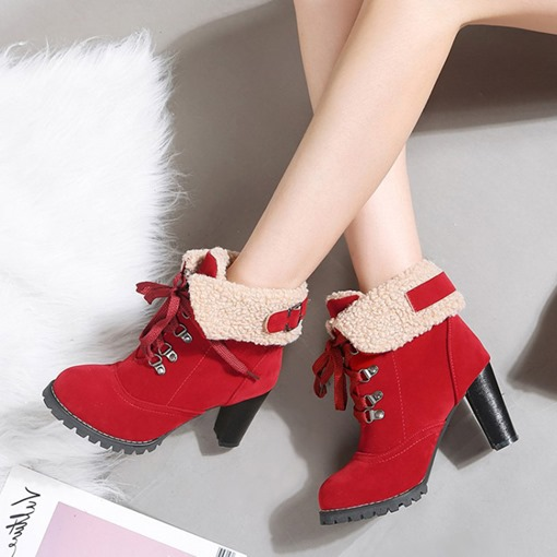Lace-Up Front Chunky Heel Purfle Round Toe Versatile Ankle Boots