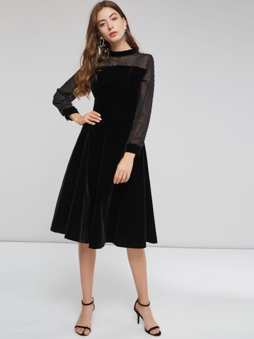 Asymmetric Single-Breasted Women's Long Sleeve Dress