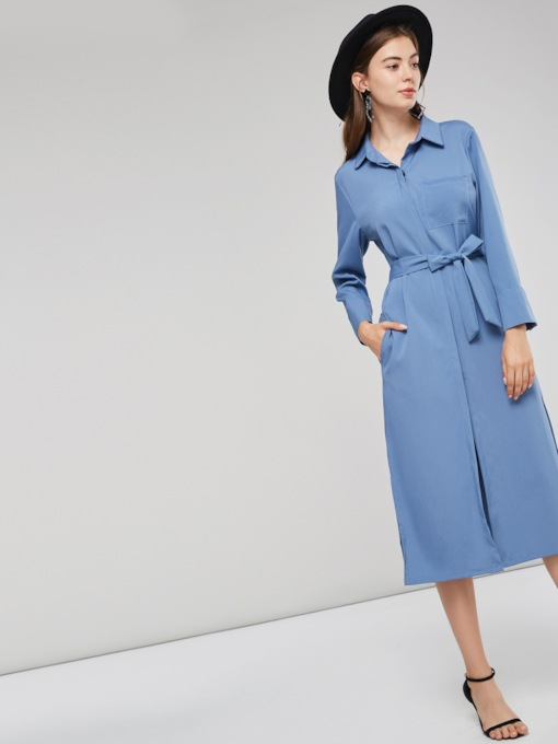 Lace-Up Single-Breasted Women's Long Sleeve Dress