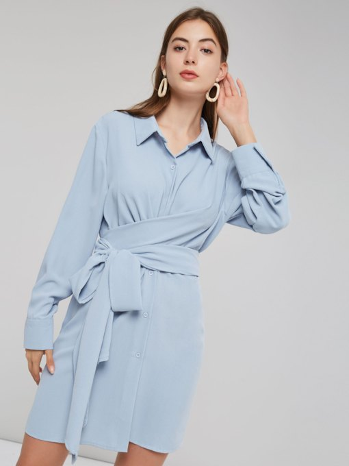 Bowknot Polo Neck Women's Long Sleeves Dress