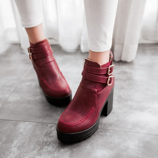 Round Toe Chunky Heel Hasp Platform Women's Ankle Boots