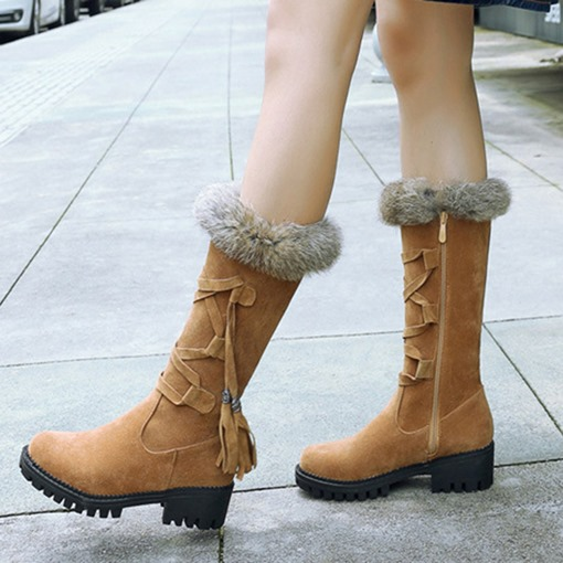 Side Zipper Block Heel Round Toe Cross Strap Fringe Mid Calf Boots