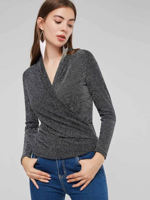 Wrap Design Ruched V-Neck Women's Sweater