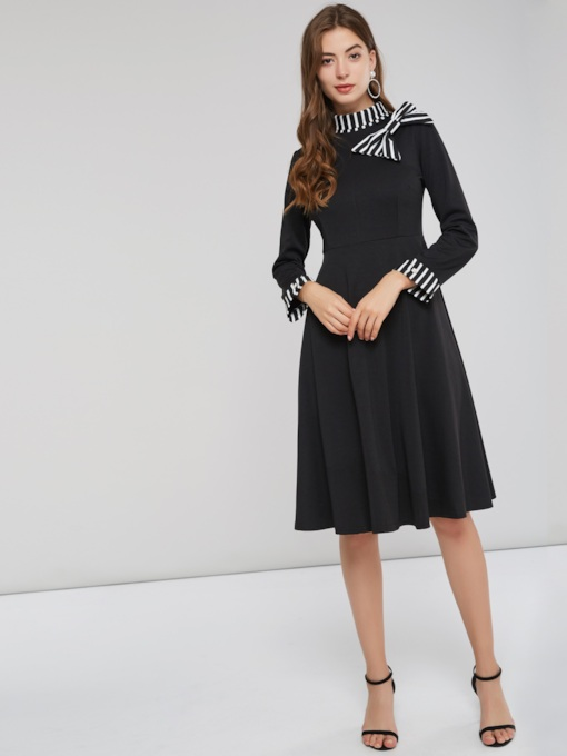 Asymmetric Single-Breasted Belt Women's Long Sleeve Dress