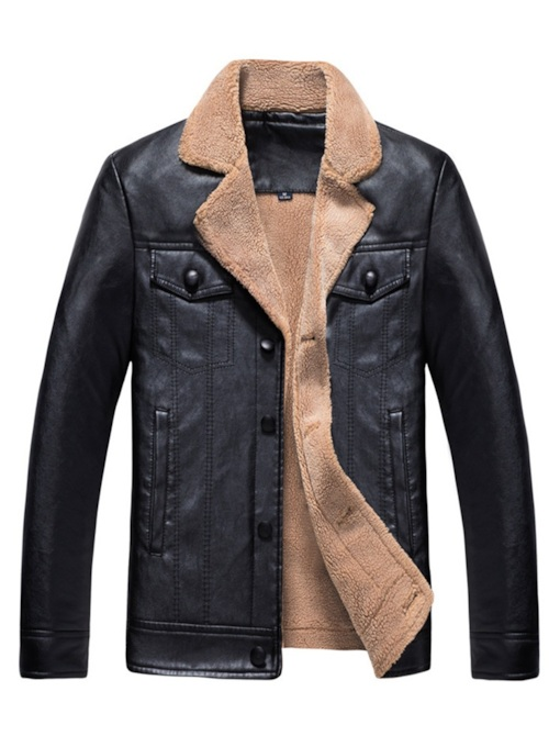 Casual Loose Lapel Single-Breasted Plain Men's PU Jacket