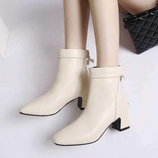 Back Zip Square Toe Chunky Heel Elegant Women's Ankle Boots