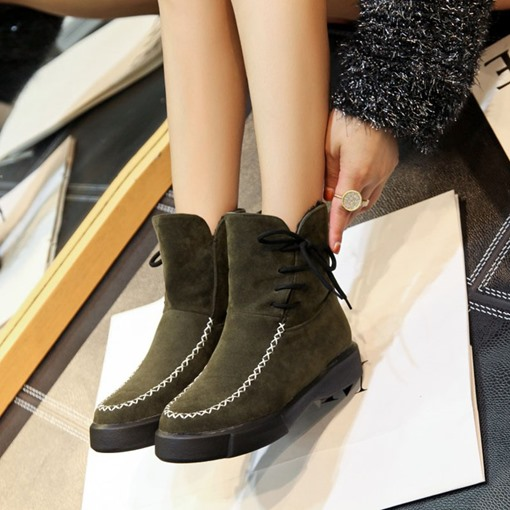 Round Toe Lace-Up Side Platform Thread Women's Snow Boots