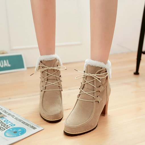 Chunky Heel Round Toe Lace-Up Front Girlish Women's Ankle Boots